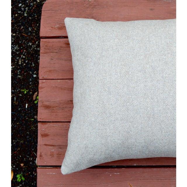 Italian Italian FirmaMenta Eco-Friendly Neutral Herringbone Recycled Wool Pillow For Sale - Image 3 of 7