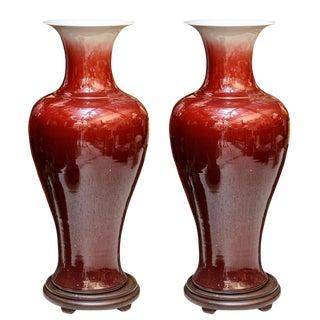 Oxblood Porcelain Floor Vases - a Pair For Sale