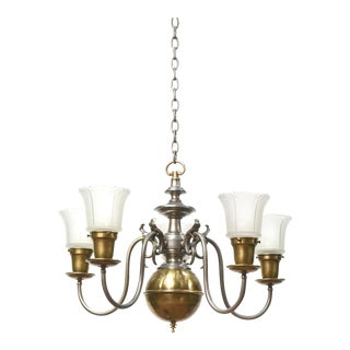 Mixed Metal Pewter and Brass Colonial Revival Chandelier For Sale