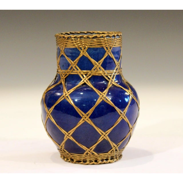 1910s Antique Awaji Pottery Japanese Arts & Crafts Cup Brush Pot Jar Bronze Weave For Sale - Image 5 of 12