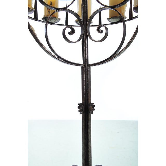 Spanish Revival Wrought Iron 8 Arm Candle Holder For Sale - Image 9 of 10