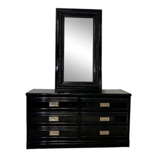 Campaign Black Lacquered 6 Drawer Style Lowboy Dresser For Sale