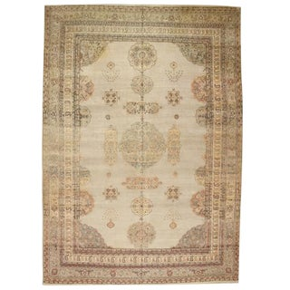Antique 19th Century Rare Silver Hereke Carpet For Sale
