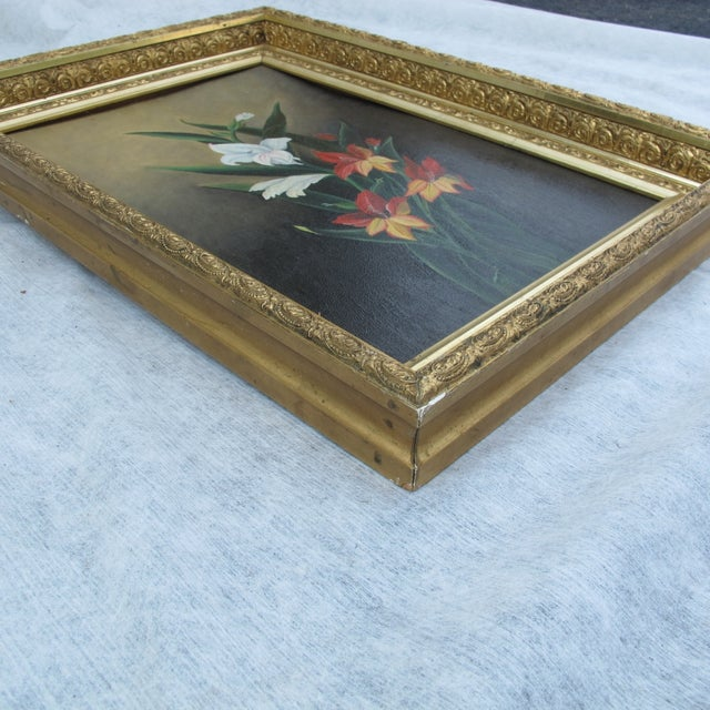 Framed Lilies Oil Painting - Image 4 of 9