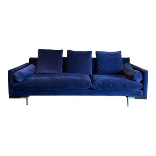 Nathan Anthony Royal Blue Mid-Century Modern Style Sofa For Sale