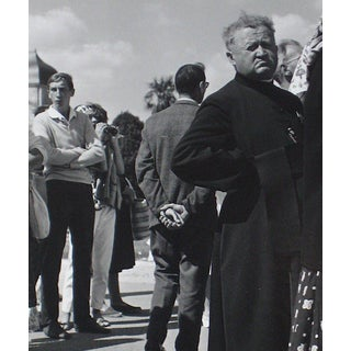 People in Que City Scene 1960s Black and White Photograph For Sale
