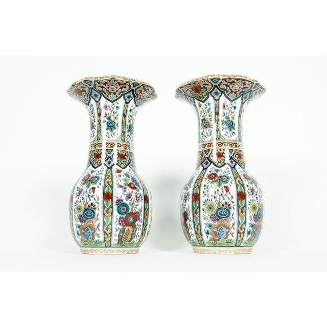 Vintage porcelain Dutch pair of decorative vases or pieces . Each piece is in excellent condition, maker's mark...
