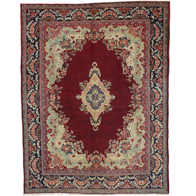 Mid 20th Century Vintage Mid-Century Persian Mahal Rug - 10′5″ × 13′7″ For Sale - Image 5 of 5