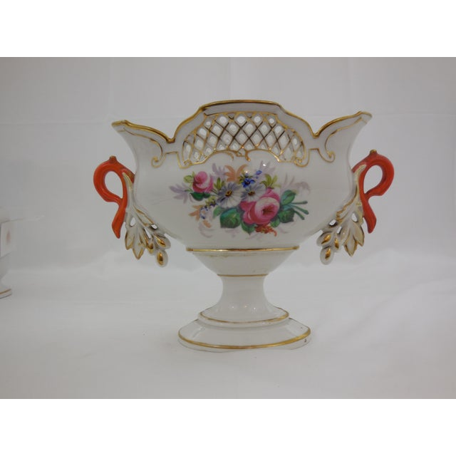 "French Provincial ""Old Paris"" Center Bowl With Orange Handles For Sale - Image 3 of 5"
