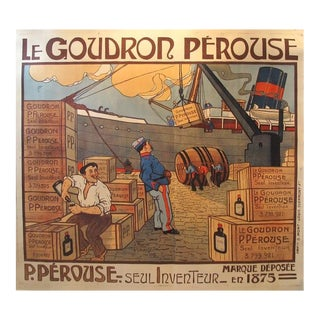 1900 Original French Oversize Wine Poster, Goudron Perouse For Sale