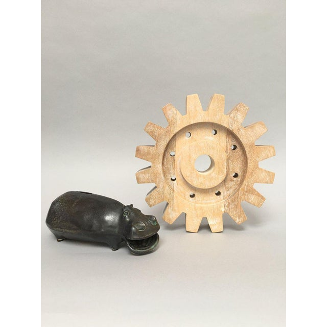 Industrial Rustic Modern Whitewashed Wood Cog Sculpture For Sale - Image 5 of 10