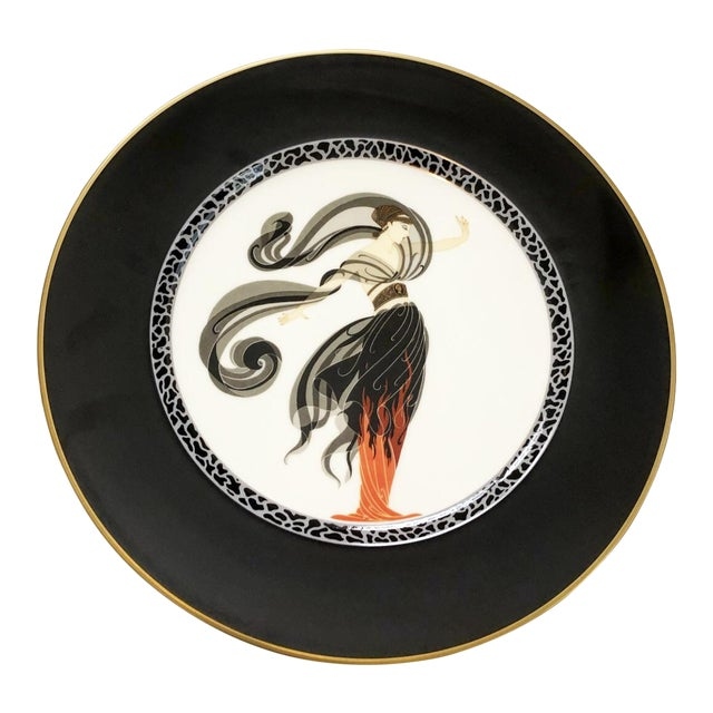 Vintage Collectable Erte Flames D' Amour Bone China Plate For Sale