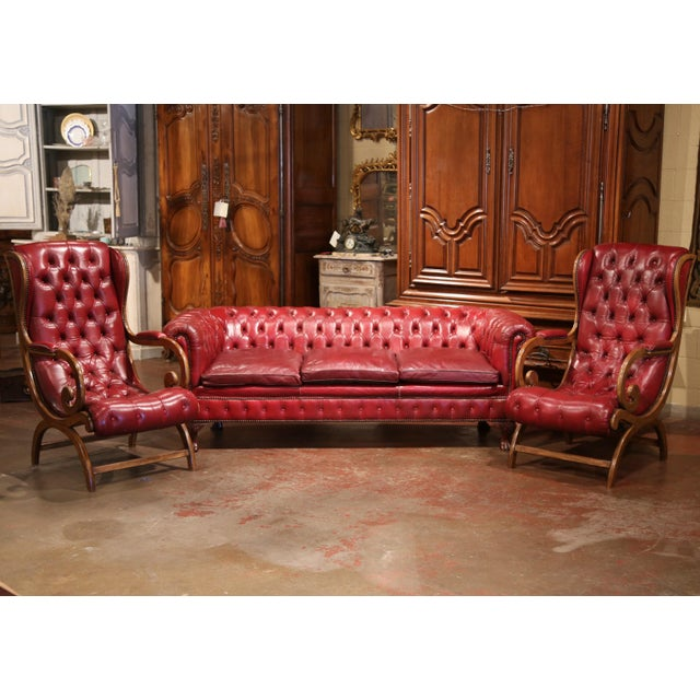 Large Midcentury Three-Piece English Chesterfield Set With Armchairs and Sofa For Sale - Image 4 of 10