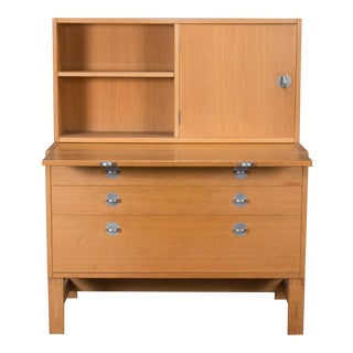Danish Modern Oak Bookcase Unit and Chest For Sale