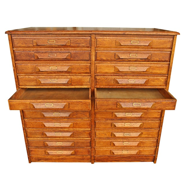 Antique Oak Double Drawer Printer's Cabinet - Image 2 of 5