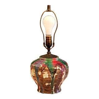Vintage Japanese Awaji Studio Pottery Drip Glaze Lamp For Sale