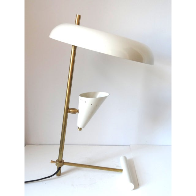 Italian Brass & White Lacquered Lamps - A Pair - Image 4 of 6
