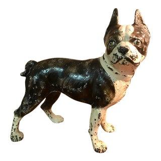 Antique Hubley Cast Iron Boston Terrier Door Porter For Sale