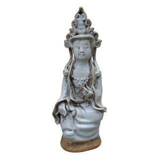 Vintage Quan Yin Porcelain Statue For Sale