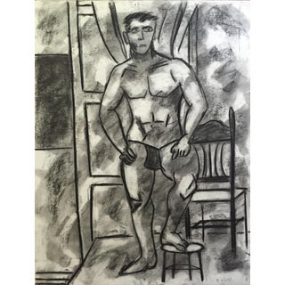 1950s Original Vintage Charcoal Standing Man For Sale