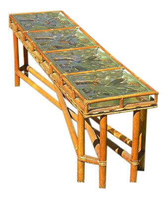 Genial Mid Century Bamboo U0026 Glass Block Coffee Table