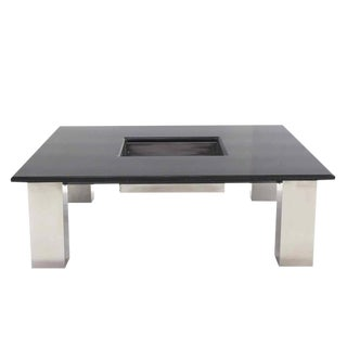 Large Square Granite Top Coffee Table with Center Planter For Sale