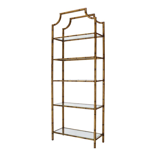 Mid-Century Modern Five-Tier Faux Bamboo Etagere Shelving Unit For Sale