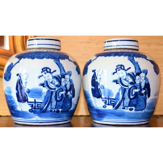 Asian Chinoiserie Ginger Jars With Deities - A Pair For Sale - Image 3 of 10