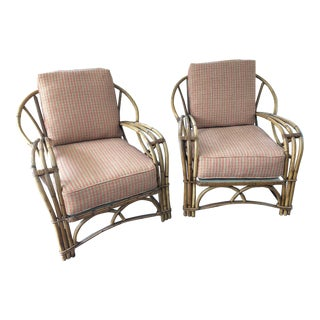 Vintage Rattan Side Chairs - A Pair For Sale