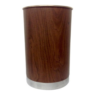 Chrome & Faux Walnut Umbrella Stand For Sale