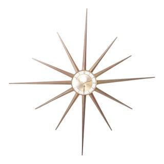 Mid Century Modern Atomic Starburst France Vintage Wall Clock by Forestville For Sale