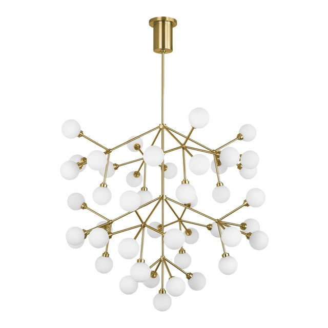 Mara Grande Chandelier LED Aged Brass For Sale