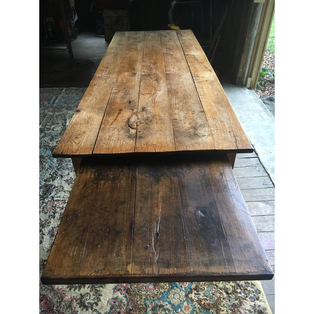 Brown Antique Pine Farm Table For Sale - Image 8 of 10