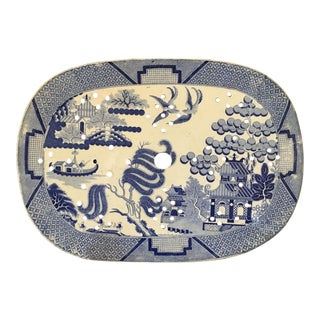 Large Antique English Blue Willow Transferware Drainer Platter - #2 For Sale
