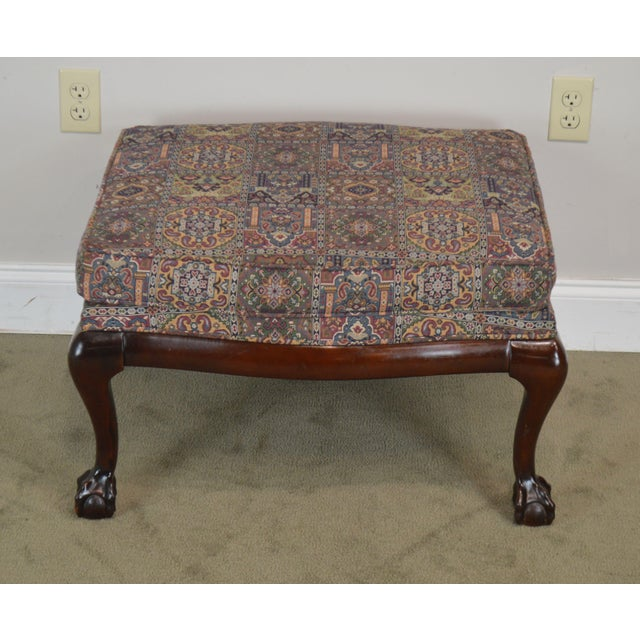 Chippendale Fairington Chippendale Style Ball & Claw Foot Ottoman For Sale - Image 3 of 13