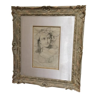 Beautiful and Rare 19th Century Antique Drawing and Frame by Augusta De Coulon For Sale