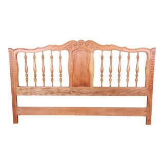 John Widdicomb French Provincial Louis XV Carved Oak King Size Headboard For Sale