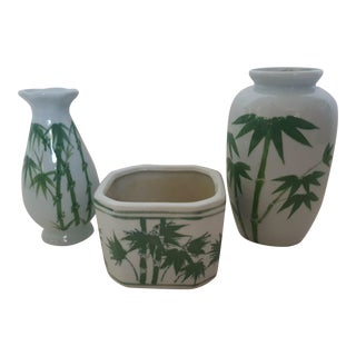 Set of 3- Chinois White Ceramic Bamboo Motif Vases and Planter For Sale
