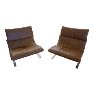 1970s Mid-Century Modern Giovanni Offredi for Saporiti Furniture Saddle Leather Onda Lounge Chairs - a Pair For Sale