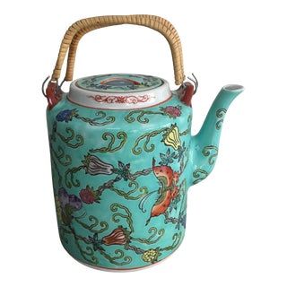 Chinese Mid-Century Famille Rose Porcelain Teapot For Sale