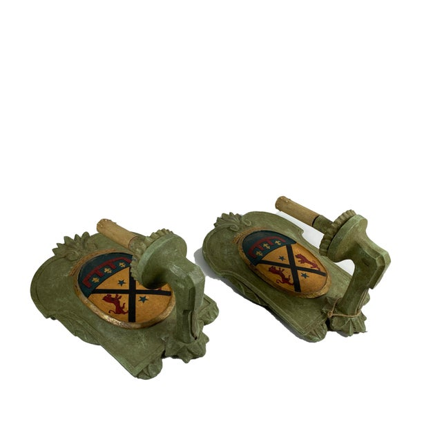 Vintage Italian Wood Sconce With Crest - a Pair For Sale - Image 10 of 12