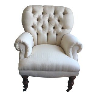 Contemporary Chesterfield-Style Cream Upholstered Club Chair For Sale