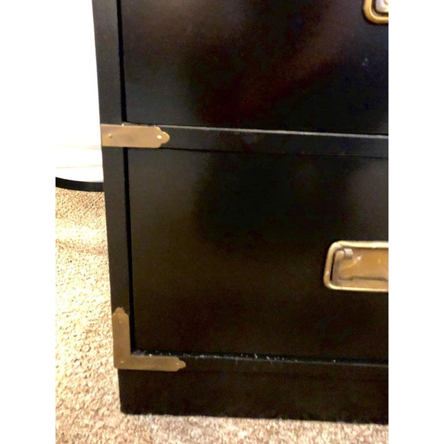 Wood Campaign Style Ebony Chest / Dresser or Nightstand Attributed to Baker For Sale - Image 7 of 13