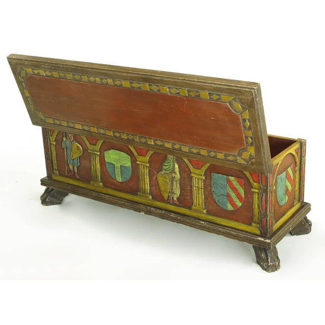 1960s Artes De Mexico Spanish Revival Polychrome Wood Blanket Chest For Sale - Image 5 of 8