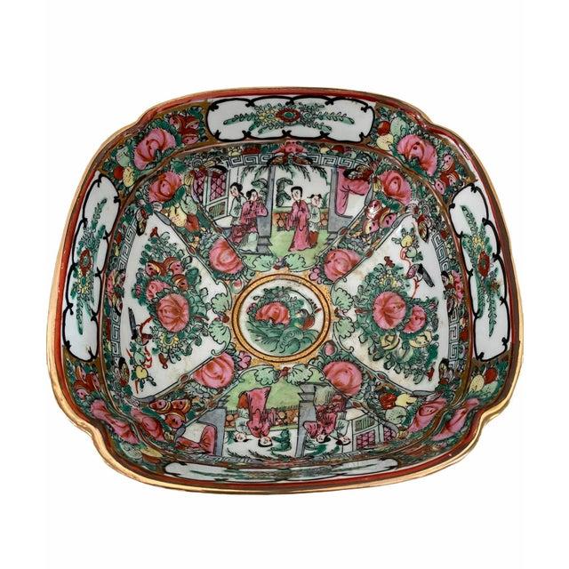 Vintage Pedestal Rose Famille Medallion Bowl For Sale - Image 4 of 7