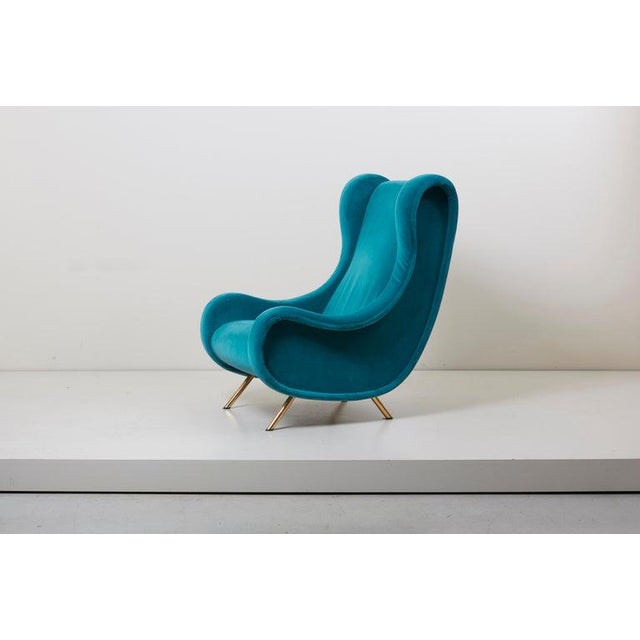 1950s Senior Lounge Chair in Blue Velvet by Marco Zanuso for Arflex, Italy, 1955 For Sale - Image 5 of 7