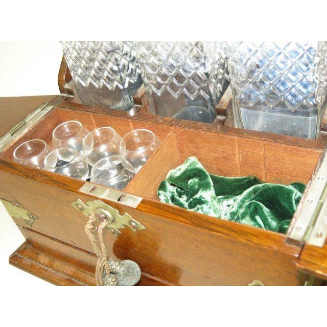 Traditional Victorian Oak Tantalus Set with 3 Crystal Bottles For Sale - Image 3 of 5
