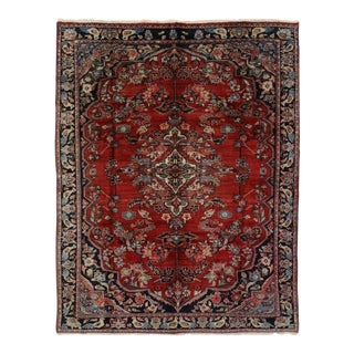 Vintage Persian Mahal Floral Medallion Rug with Traditional Style
