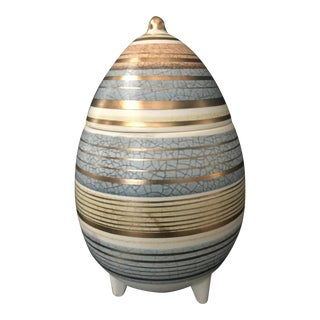 Mid Century Sascha Brastoff Abstract Series Stripe Egg Jar Signed For Sale