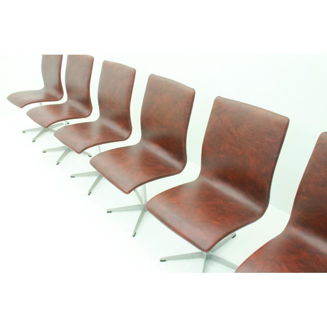 1960s 6x Arne Jacobsen Oxford Chairs by Fritz Hansen Denmark For Sale - Image 5 of 12